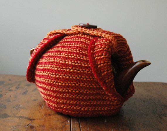 Knitted tea cosy with button by KororaCrafters on Etsy