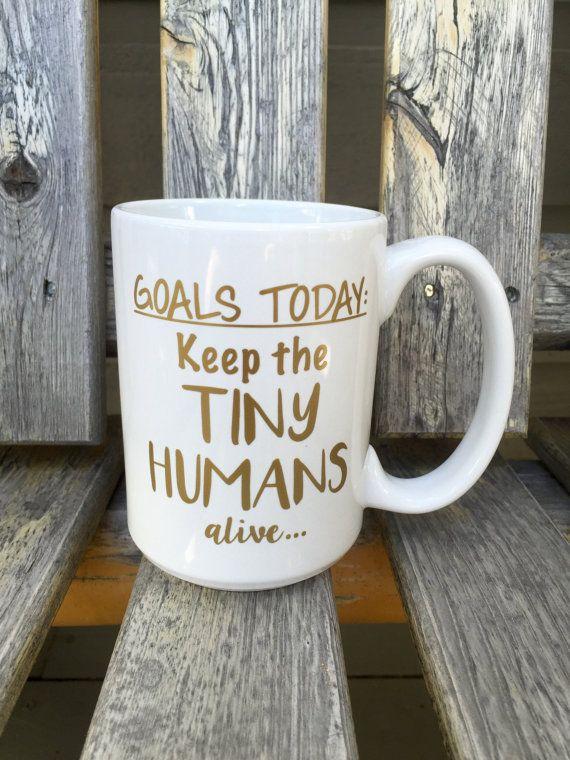 Keep the tiny humans alive custom 15 oz coffee by RoamFreeDesignCo | #doingoodcontest