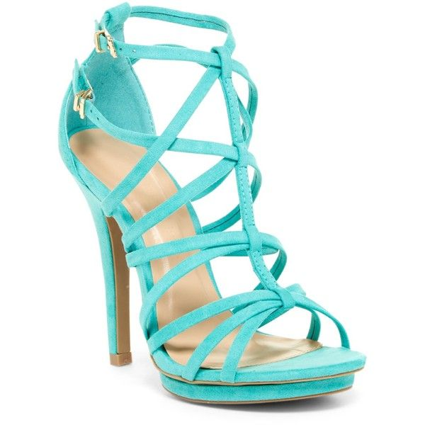 Wild Diva Lounge Amy Heeled Sandal (36 AUD) ❤ liked on Polyvore featuring shoes, sandals, jade, ankle wrap sandals, open toe platform sandals, platform sandals, ankle strap shoes and ankle tie sandals