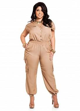 Ashley Stewart plus size tan military jumpsuit