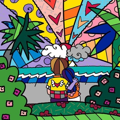 One of our favorite piece!!! This is me and my bf! <3 Would like this framed at our place one day. /// Romero Britto, Romantic sunset.