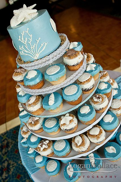 Beach Wedding Cupcake cake--- exactly what i want but with a different blue  This would be fun for a work potluck with any theme.  Why save something so beautiful for a wedding?  Try it just for fun!  :)