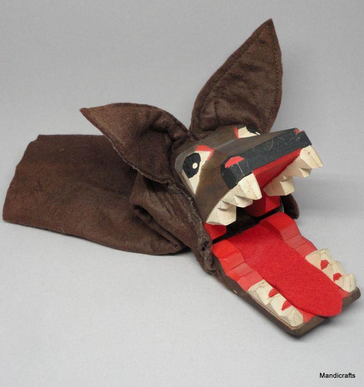 Lotte Sievers Hahn Big Bad #Wolf Hand #Puppet Carved Wood Head Germany Vintage #LotteSieversHahn