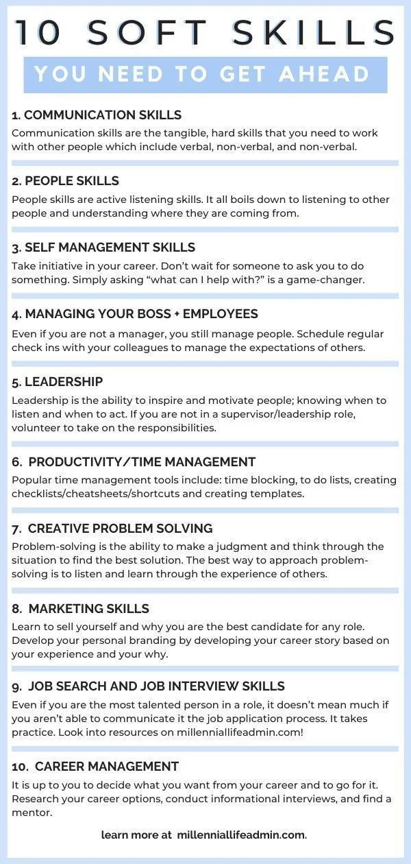 How To Develop The 10 Soft Skills You Need To Get Ahead In Your Career In 2020 Job Interview Advice Soft Skills Job Interview Tips