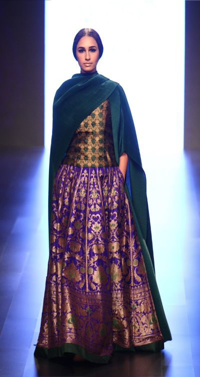 payalkhandwala - AW/2016 - Silk Brocade Blouse, Satin Kimono Cape and Silk Brocade Lehenga
