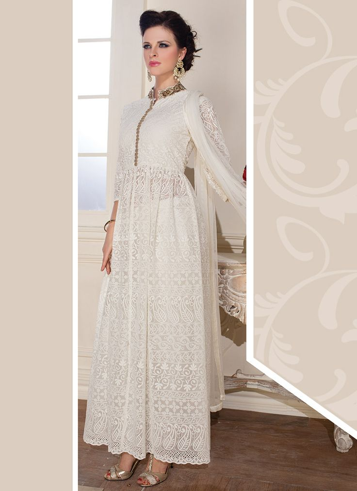Off White Georgette Ankle Length Anarkali Suit