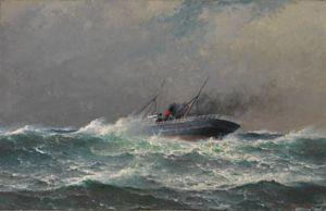 Haaland, Lauritz - Dampskipet Fritdjof i hardt vær, 1907 / Vårens moderne og…