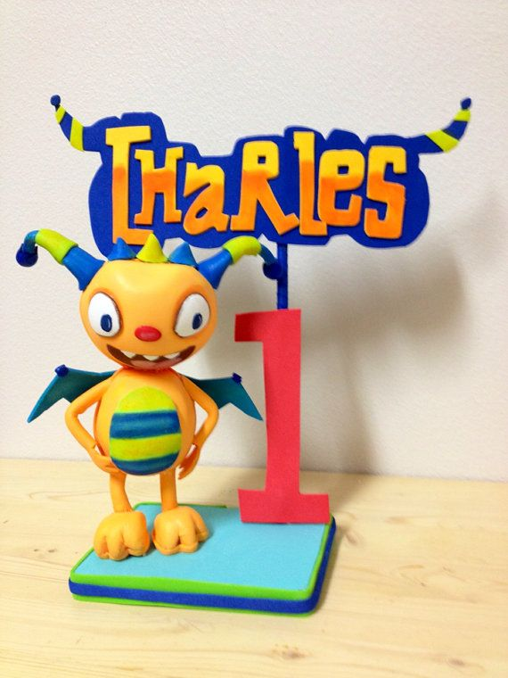 Henry Hugglemonster  cake topper - centerpiece - monster university party on Etsy, $32.00