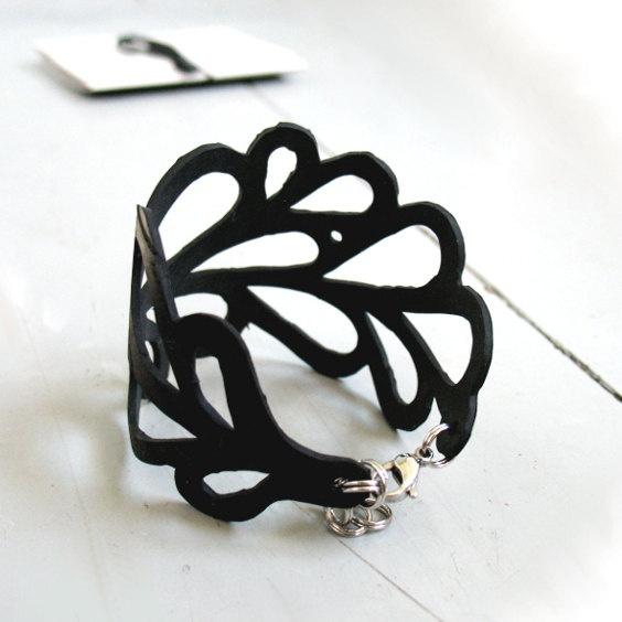 Upcycled inner tube bracelet