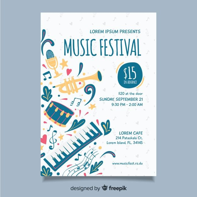 Download Hand Drawn Music Festival Poster Template For Free Desain Pamflet Desain Poster Brosur