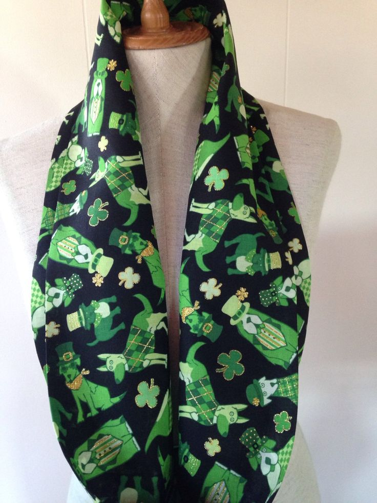 Dog Lovers Dogs Wearing Green Hats and Irish sweaters Shamrock St. Patrick's Day lightweight Cotton Infinity Scarf by lookatmybooties on Etsy