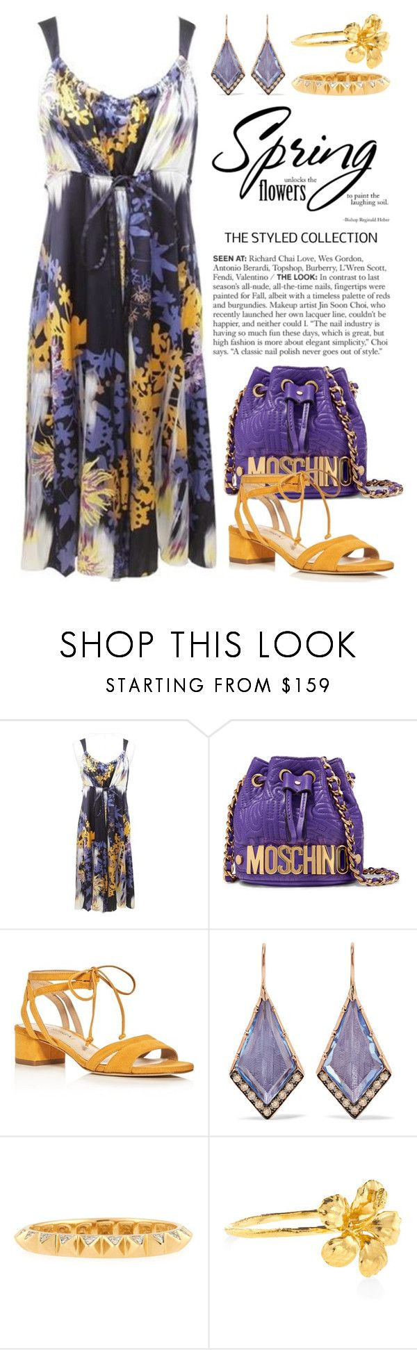 """""""Spring It! 3329"""" by boxthoughts ❤ liked on Polyvore featuring Elie Tahari, Moschino, Via Spiga, Larkspur & Hawk, Sydney Evan and Alex Monroe"""