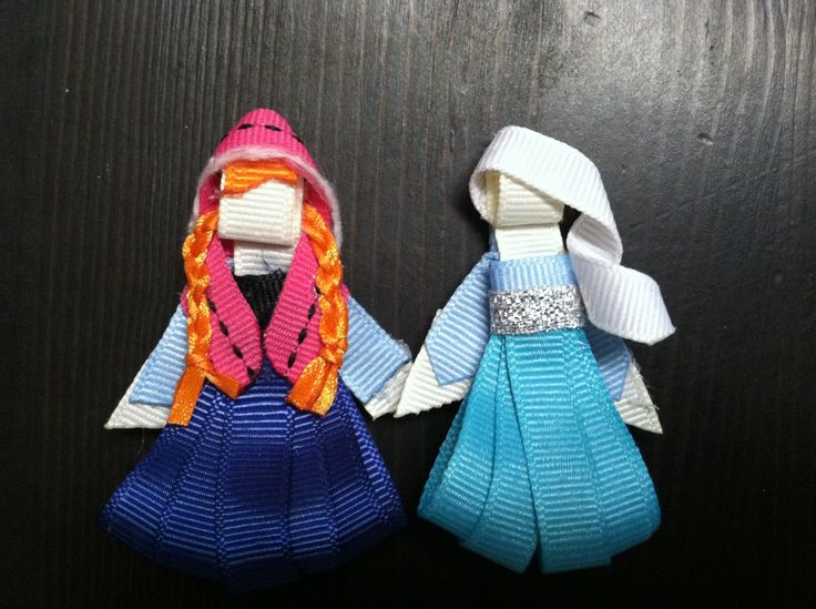 My Anna and Elsa hair clips from Disney's Frozen.