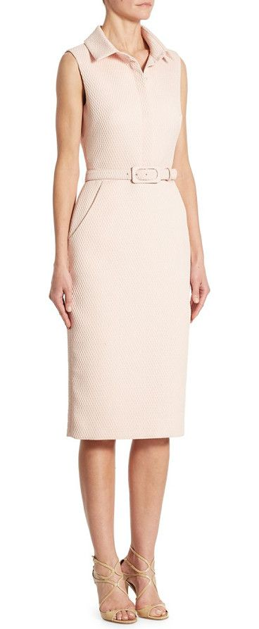 slim fit shirt dress by Badgley Mischka. Gorgeous shirt dress comes with a tonal self-belt. Spread collar. Concealed placket. Sleeveless. Self-belted waist. A...