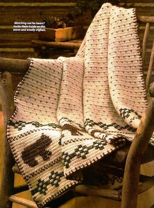 X246 Crochet Pattern Only Rustic Lodge Bear Motif By