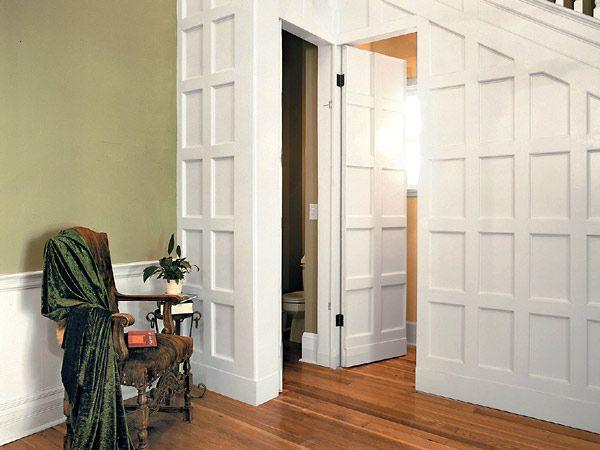 Secret door...: Doors Reveal, Hidden Storage, Bathroom Doors, Hidden Doors, Basements Stairs, Concealer Doors, Secret Doors, Hidden Bathroom, Small Powder Rooms