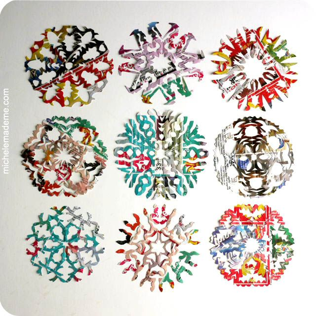 snowflakes cut out of magazines--cool!
