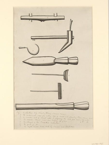 Nepal (made)  Date: ca.1836. Two carpenting-tools and five agricultural implements:  1. A carpenter's chisel (dhang).  2. A plank-cutting implement (phou).  3. A shovel for preparing soil for seed.  4. A grain-heaping shovel.  5. A hill-cultivator's plough of the Parbattias.  6. A yoke from a hill-cultivator's plough.  7. A sickle used by the Newars and Parbattias.