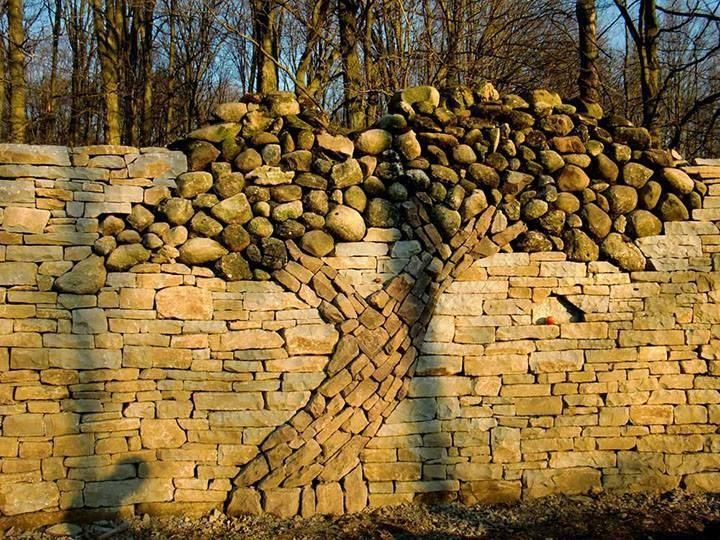 Dry Stone Wall With Tree Built By Eric Landman In Memory Of His Wife Kerry.  In Mono, Ontario. The Main Wall Is Limestone With Local Rounded Granite.