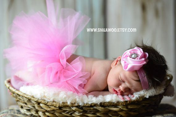 Newborn Tutu WITH Matching Headband Baby Pink Tutu by SnugAWoo, $24.99