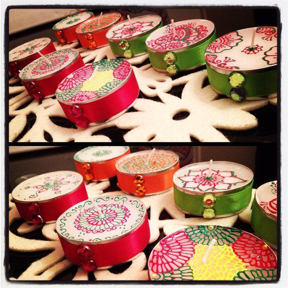 Wedding Favours Large Tea lights, Henna Inspired Gift
