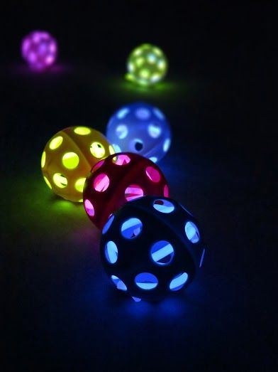 Put Glow Bracelets in Wiffle Balls to create your own glowing street hockey or baseballs! http://glowproducts.com/glownecklaces/8inchassortedeconomy/