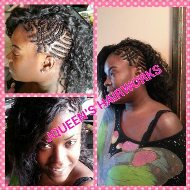 half up half down black hairstyles : Braids with half sew in using loose wave from premium now. #sidemohawk ...