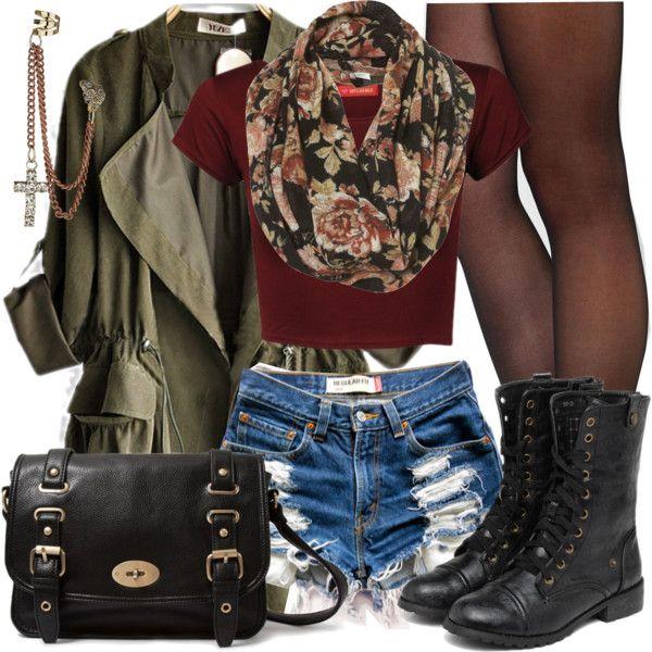Green zip up jacket, high waisted shorts, tights, boots, half top