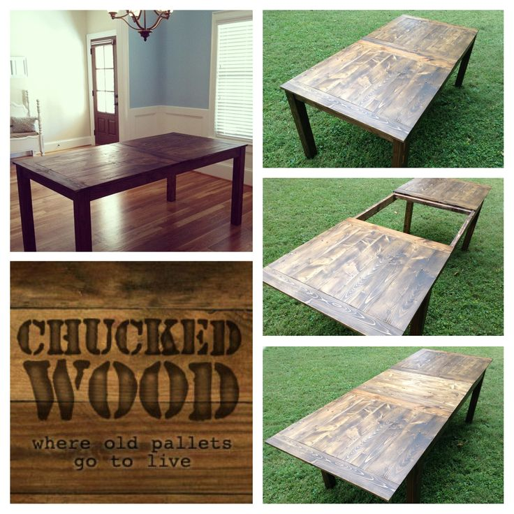 """48"""" of reclaimed barn wood = extendable table to seat 6-10 folks"""