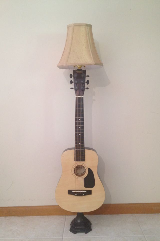 Re Purposed And Recycled Guitar With Salvaged Lamp Parts