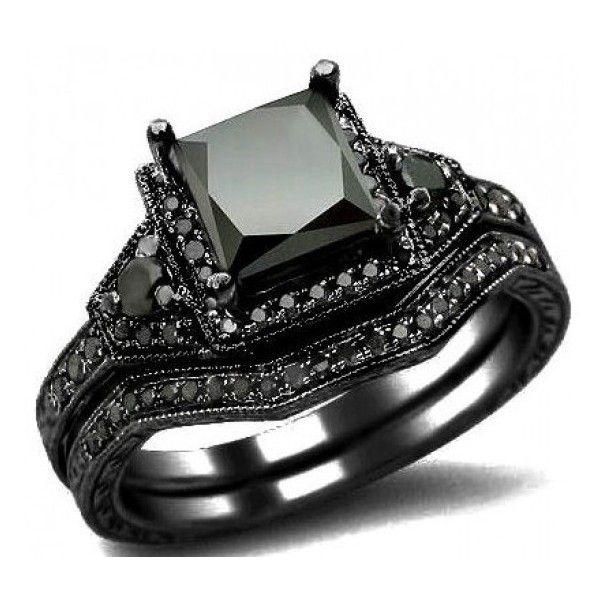 2.01ct Black Princess Cut Diamond Engagement Ring Wedding Bridal Set... ❤ liked on Polyvore
