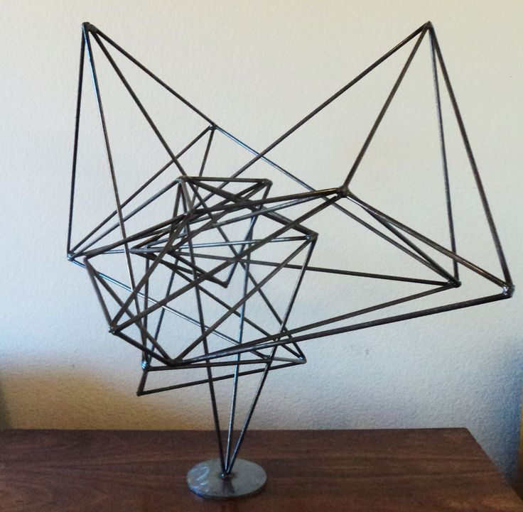 Modern Abstract Mid Century Contemporary Wire Metal Table Top Sculpture  Created By Artist Corey Ellis