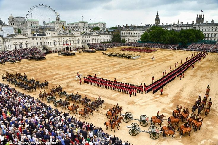 The majestic scene of the Official Birthday Parade on Horse Guards Parade...