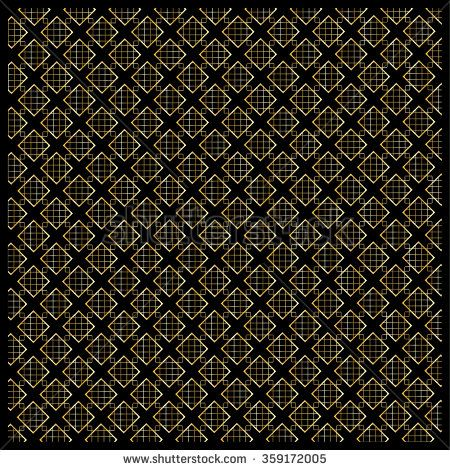 Gold diamond, Checkered pattern. Modern ornament with diamond and gold polka dots on black background. Background pattern with the abstract shapes of diamond ornament. For Fabric design. Vector file - stock vector