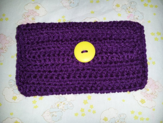 Purple Crocheted Wallet w/ Yellow Button by MamaKatCrochet on Etsy, $10.00