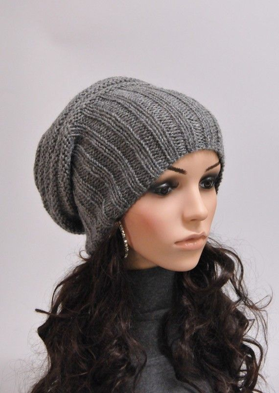 Hand knit hat  Grey Chunky Wool Hat slouchy hat by MaxMelody, $38.00