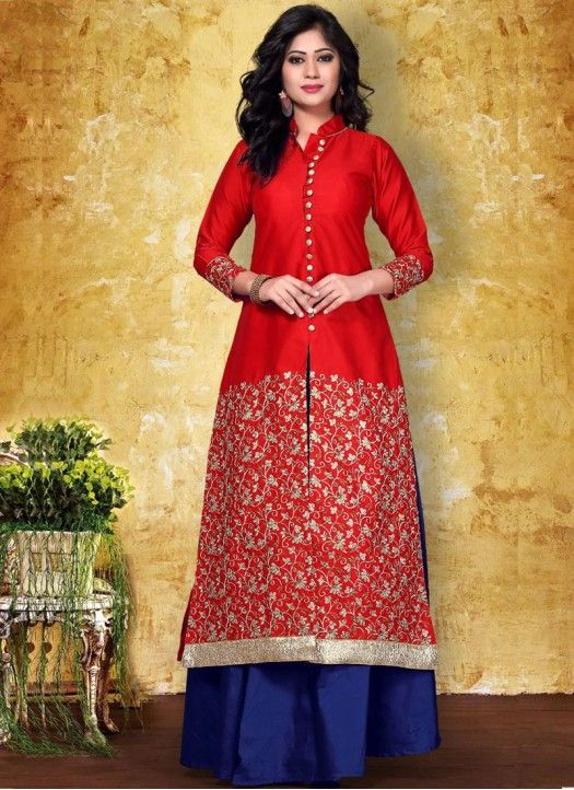 New Embroidered Red & Blue Color Indo Western