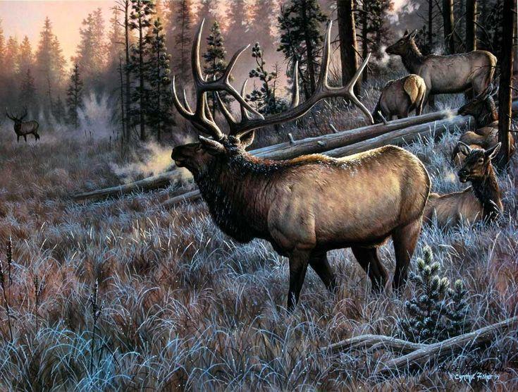Менеджеров работе, картинка с охотником и оленями