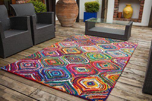 Tapis De Salon Moderne Carnivale Multicolore 100 Coton 100x160cm Cuisine Maison
