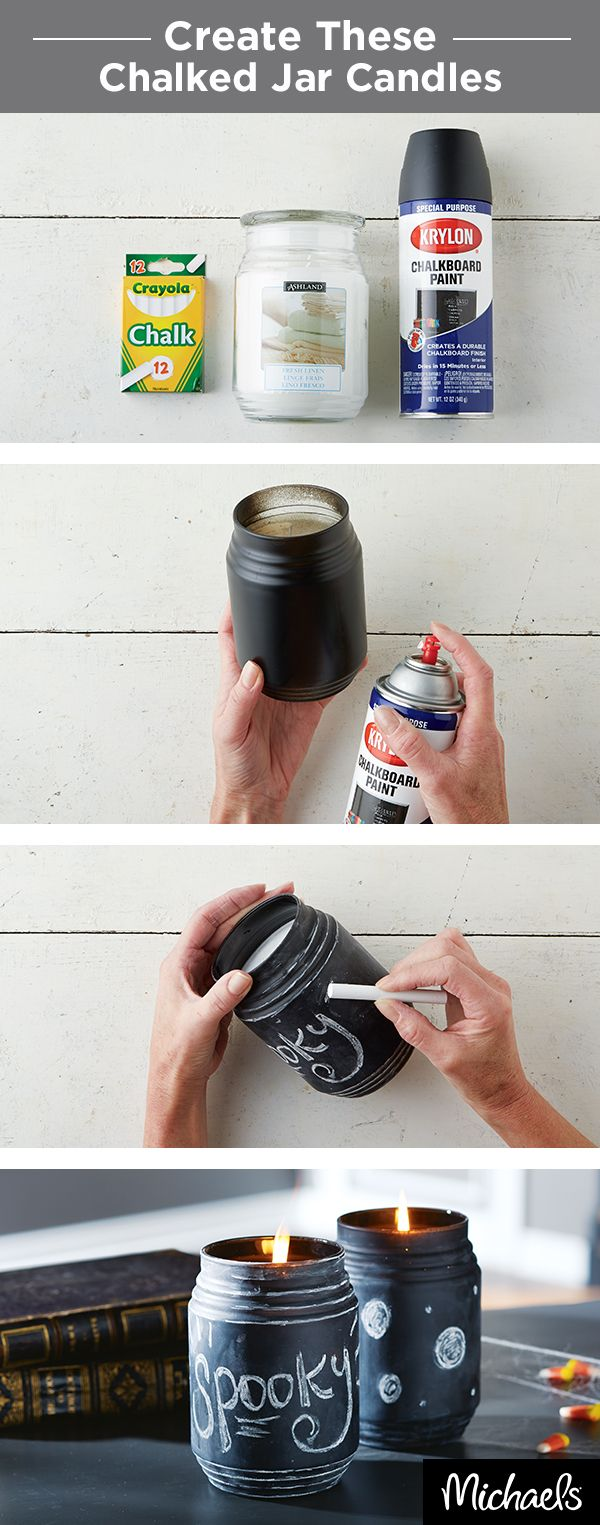 Turn a simple jar candle into a fun Halloween decoration for your home. After spraying on a coat of chalkboard paint, write a themed message of choice with some chalk! Get all the supplies you need for this craft at Michaels.