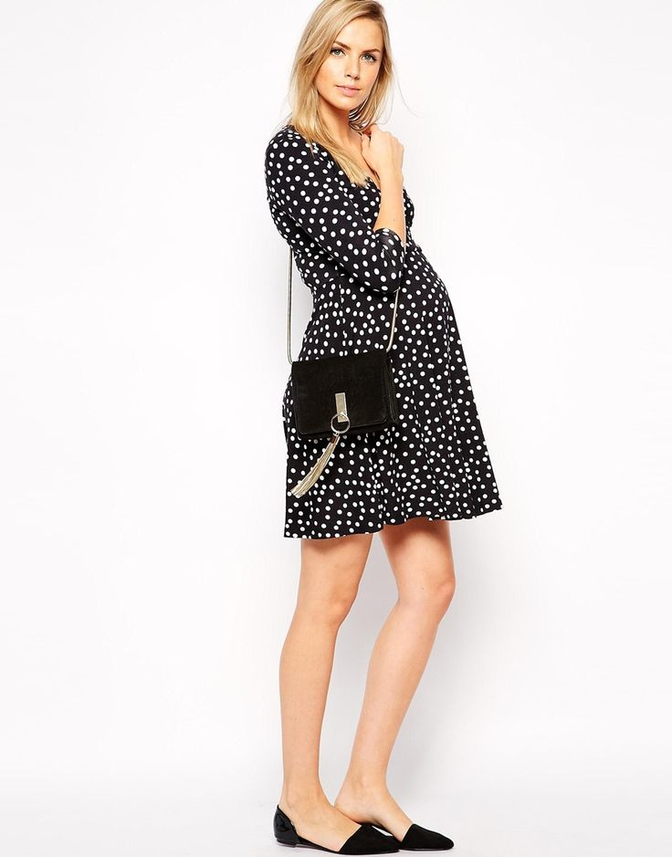Maternity NURSING Kate Wrap Skater Dress in Polka Dot with 3/4 Sleeve Cute Maternity Clothes | Nursing Clothes | Maternity Tops | Maternity Dresses #maternity #nursing #clothes #maternitypants | SHOP @ NursingClothes.com