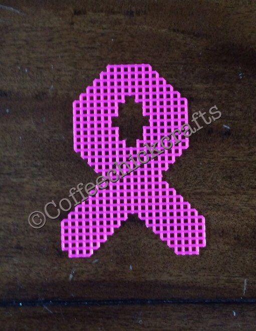 Individual Plastic Canvas Awareness Ribbon Cut Outs Plastic Canvas for Needlepoint ANY COLOR