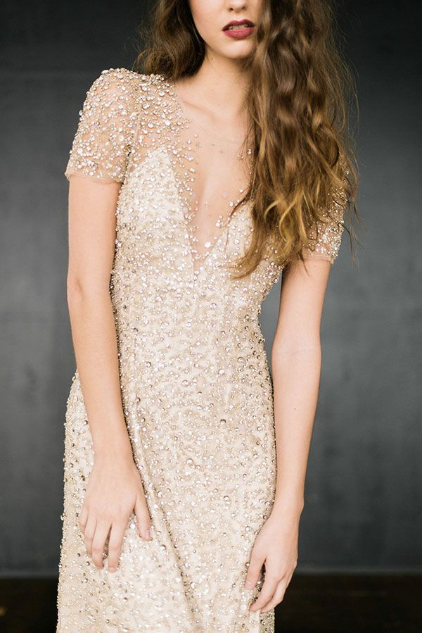 Glittering Gold Wedding Dress with lots of Sparkle!   Rustic White Photography   The Gilded Age - A Dark Romance Wedding - http://heyweddinglady.com/gilded-age-dark-romance-wedding/