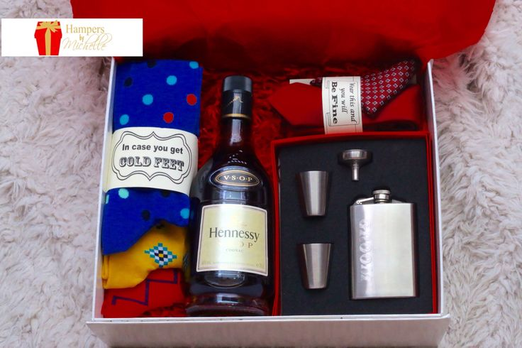 IN CASE YOU GET COLD FEET 😜 - Groom's Hamper from his bride. Love a bride with a sense of humour