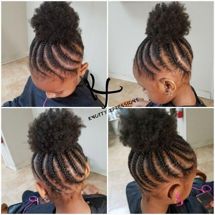 Kid's braided puff updo @knottyxpressions #AfricanAmericanHairstyles #cheveuxcourts #simplescoiffures