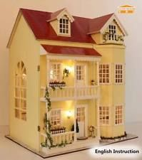Wooden Dollhouse Miniatures DIY House Kits+Music Box--Large villa X'mas Gift