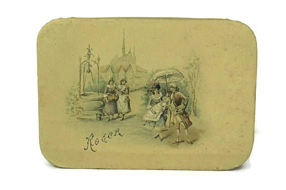 French Antique Candy Box. Victorian Baby Christening Souvenir