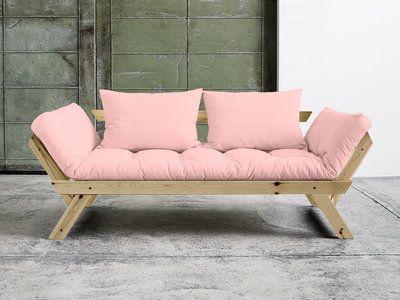 Canapé convertible en bois naturel avec matelas futon BEBOP
