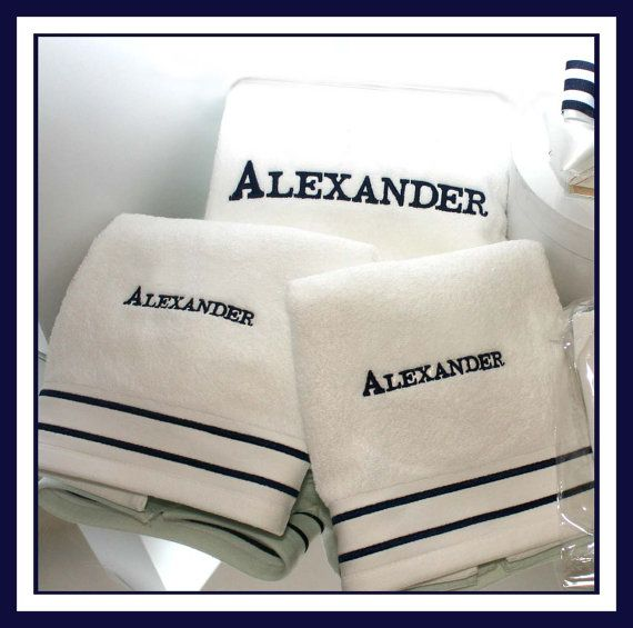 3 piece Only Monogrammed Striped Towel Set for Greek Baptism 3 piece Baptism TOWEL Set compliments our Crisp Blue and White Seersucker Stripe candle