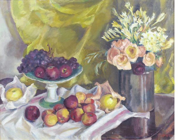 Maud Frances Eyston Sumner (South African, 1902-1985) Still life with fruit and flowers